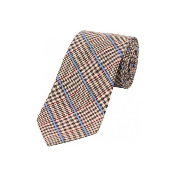 Red and Blue Stripes on Brown Tweed Wool Rich Tie