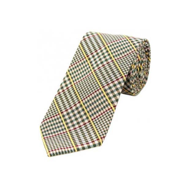 Red and Yellow Stripes on Green Tweed Wool Rich Tie