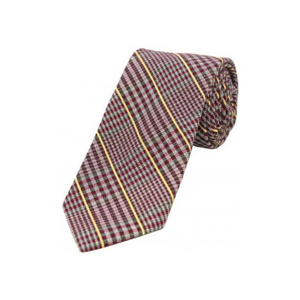 Yellow Stripes on Red Tweed Wool Rich Tie