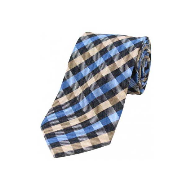 Blue, Ivory and Black Checked Wool Rich Tie