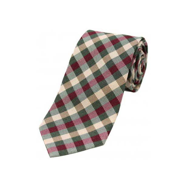 Country Green, Wine and Ivory Checked Wool Rich Tie