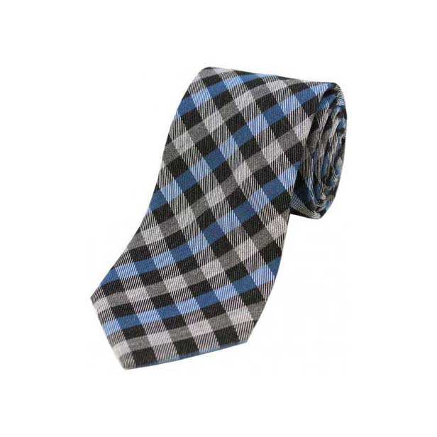 Blue, Grey and Black Checked Wool Rich Tie