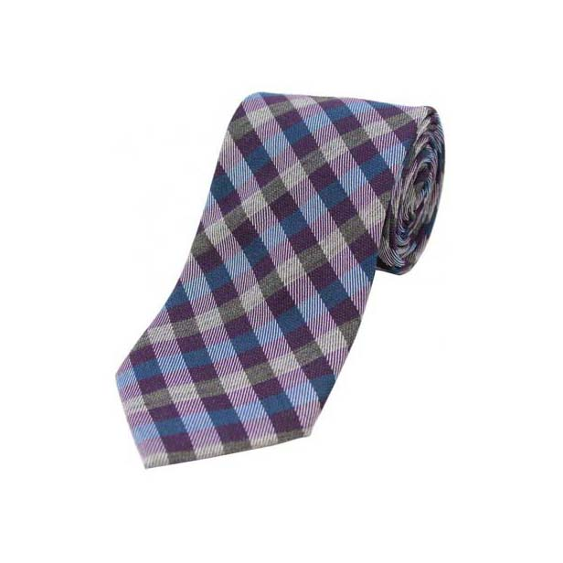 Blue, Purple and Grey Checked Wool Rich Tie
