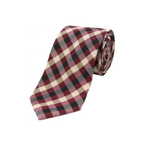Wine, Ivory and Black Checked Wool Rich Tie