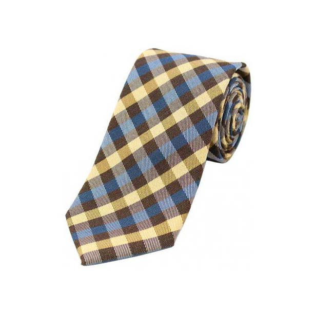 Camel, Blue and Brown Checked Wool Rich Tie