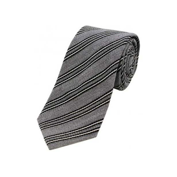 Black and White Stripes on Grey Wool Rich Tie