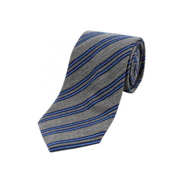 Navy and Sky Blue Stripes on Grey Wool Rich Tie