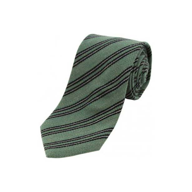Black and Grey Stripes on Green Wool Rich Tie