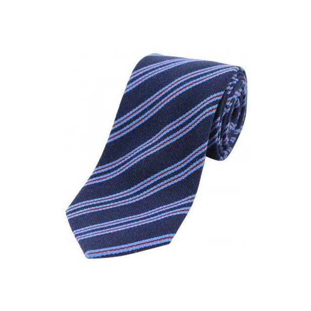 Sky Blue and Wine Stripes on a Navy Wool Rich Tie