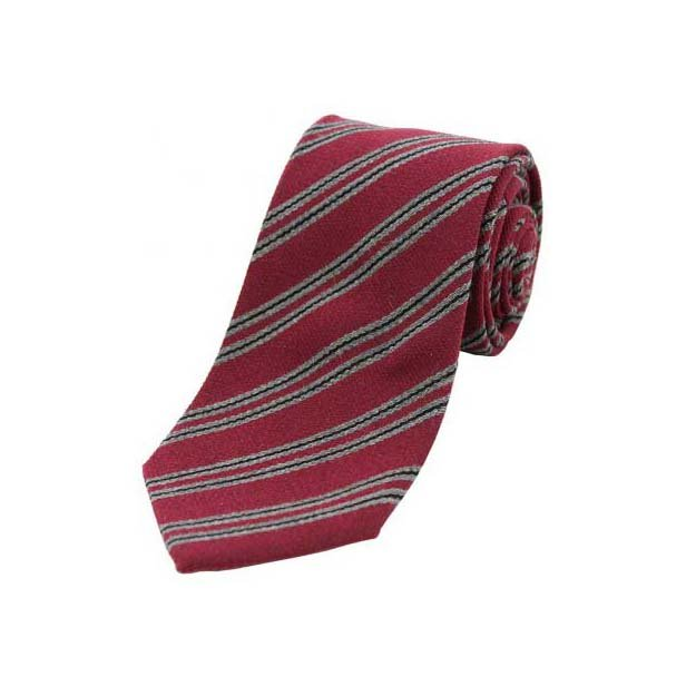 Grey and Black Stripes on Wine Wool Rich Tie