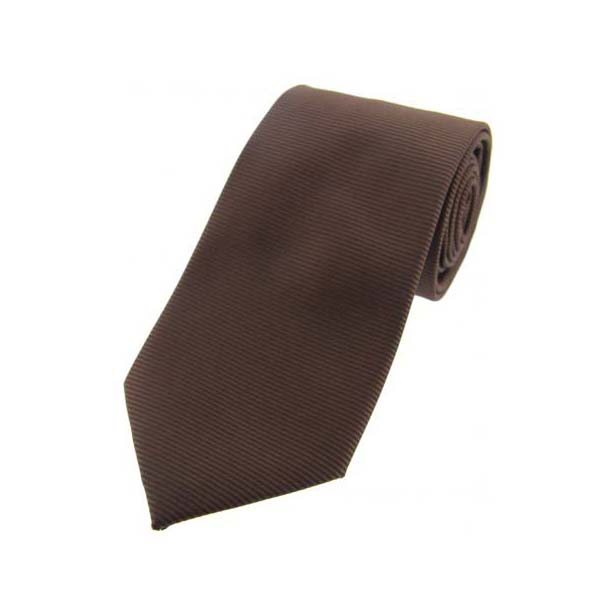 Brown Horizontal Ribbed Polyester Tie