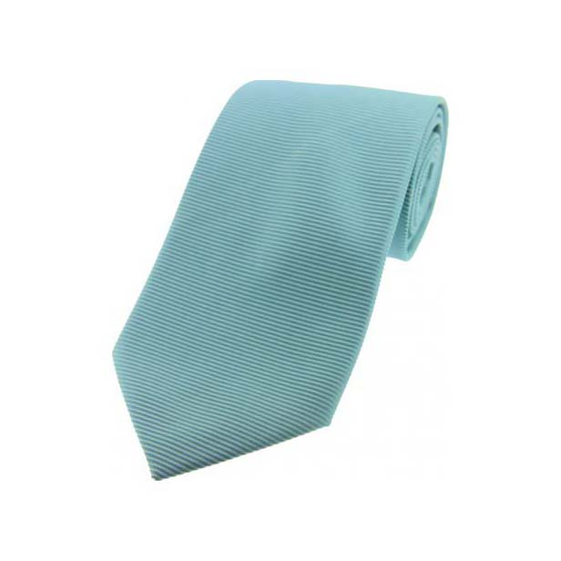 Cyan Horizontal Ribbed Polyester Tie