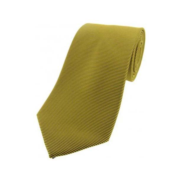 Dark Gold Horizontal Ribbed Polyester Tie