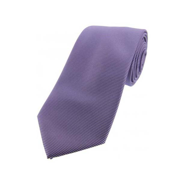 Lilac Horizontal Ribbed Polyester Tie