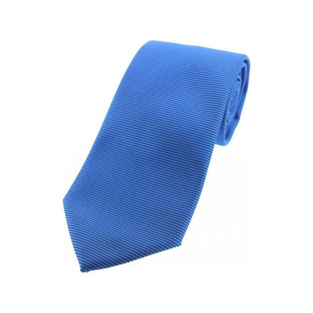 Mid Blue Horizontal Ribbed Polyester Tie