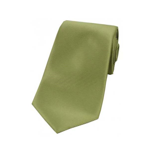 Moss Green Horizontal Ribbed Polyester Tie