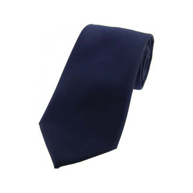 Navy Horizontal Ribbed Polyester Tie