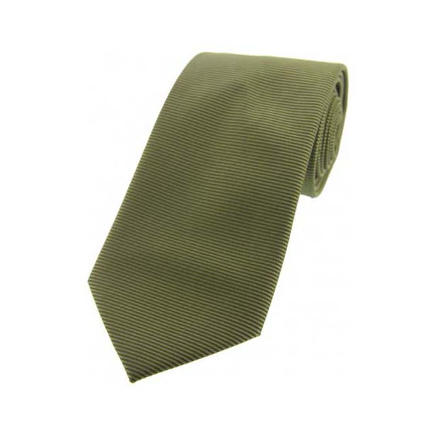 Olive Green Horizontal Ribbed Polyester Tie
