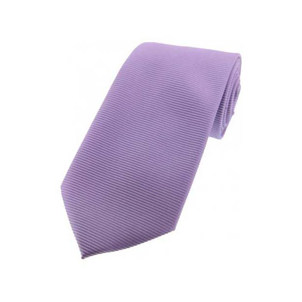 Pale Lilac Horizontal Ribbed Polyester Tie