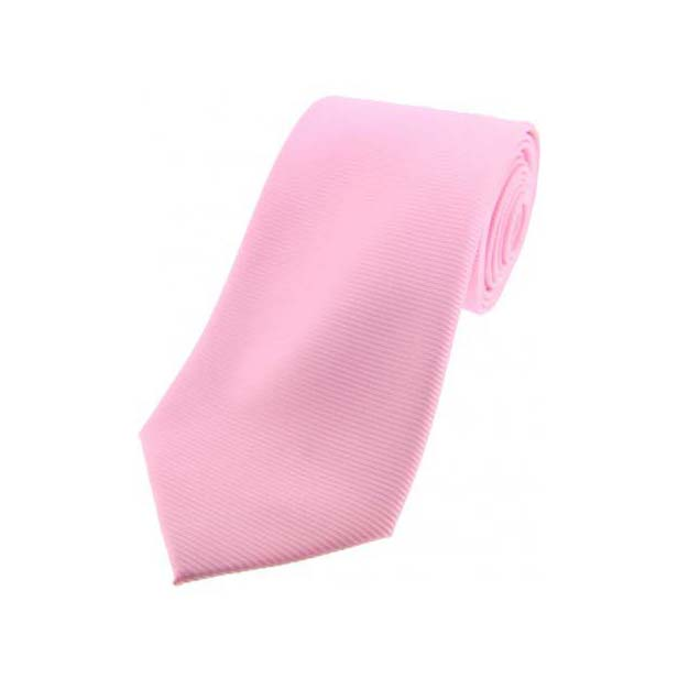 Pink Horizontal Ribbed Polyester Tie