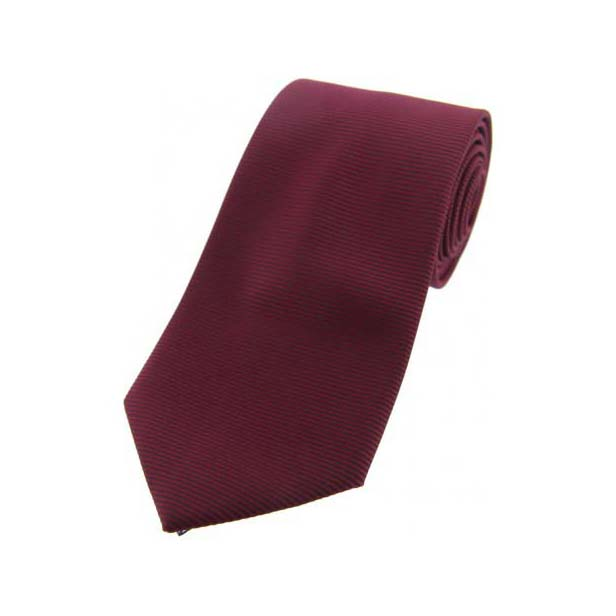 Plum Horizontal Ribbed Polyester Tie