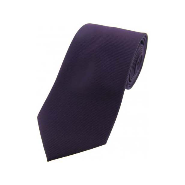 Purple Horizontal Ribbed Polyester Tie
