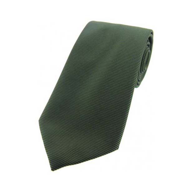 Racing Green Ribbed Polyester Tie