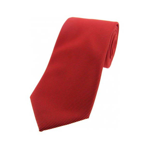 Red Horizontal Ribbed Polyester Tie