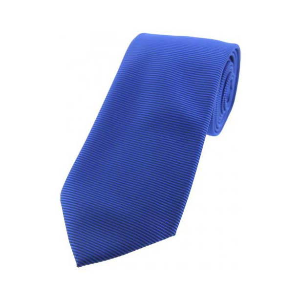 Royal Blue Horizontal Ribbed Polyester Tie