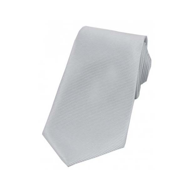 Silver Horizontal Ribbed Polyester Tie