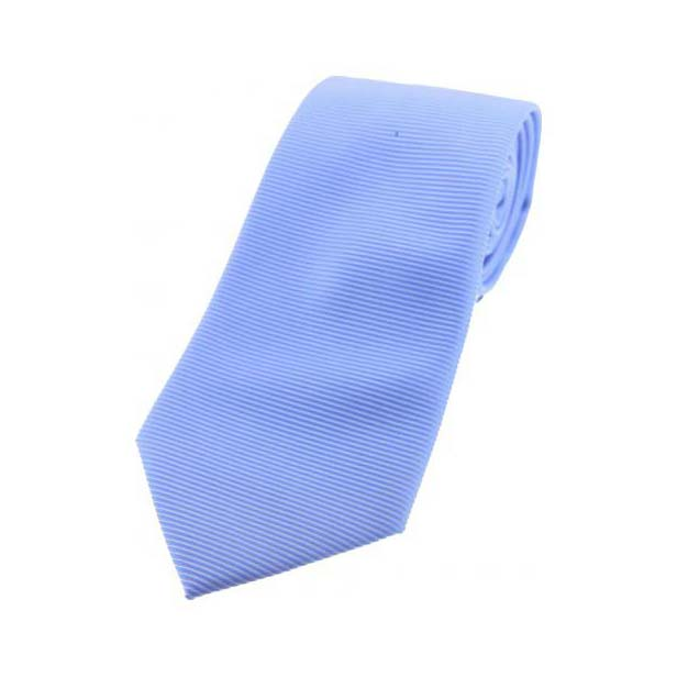 Sky Blue Horizontal Ribbed Polyester Tie