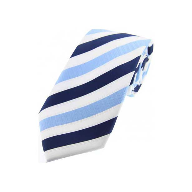 Navy and Sky Blue Striped Polyester Tie On White Ground
