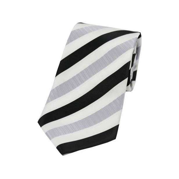 Silver and Black Striped Polyester Tie On White Ground