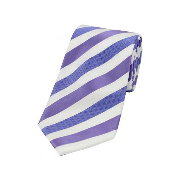 Lilac Striped Polyester Tie On White Ground