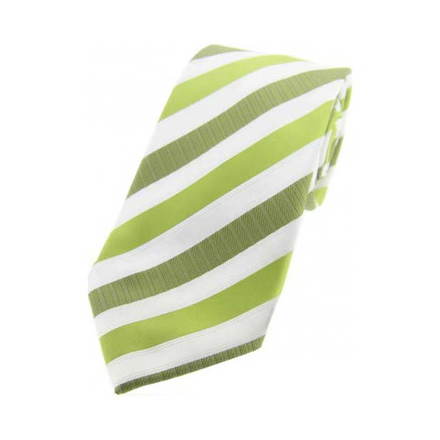 Green Striped Polyester Tie On White Ground