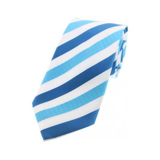 Cyan Striped Polyester Tie On White Ground
