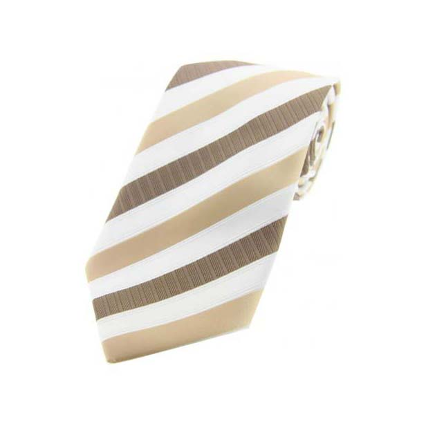 Camel Striped Polyester Tie On White Ground