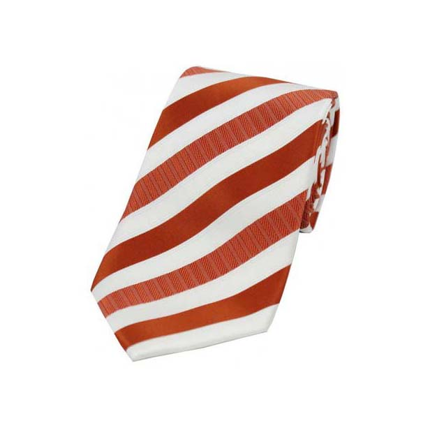 Orange Striped Polyester Tie On White Ground