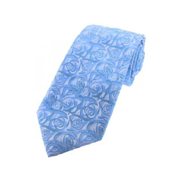 Sky Blue Rose Patterned Polyester Tie