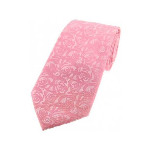 Pale Pink Rose Patterned Polyester Tie