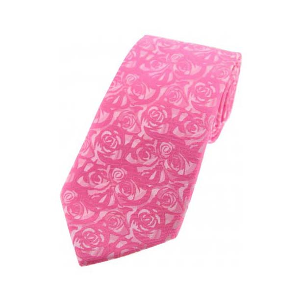Fuchsia Rose Patterned Polyester Tie