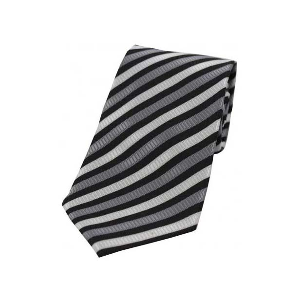 Grey and White Striped Polyester Tie On White Ground