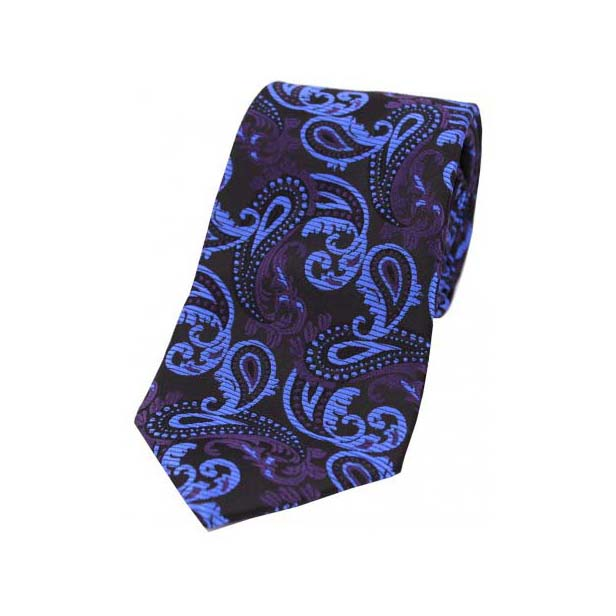Blue and Purple Paisley on a navy Polyester Tie