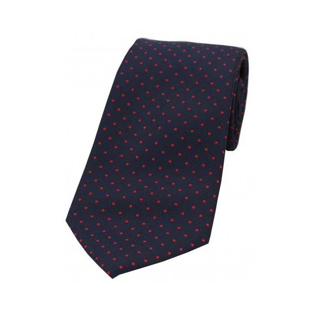 Red Pin Dot on Blue Polyester Tie