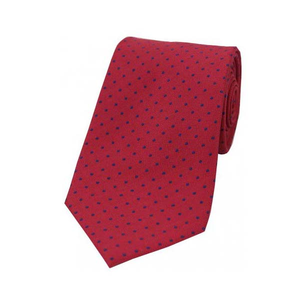 Blue Pin Dot on Red Polyester Tie
