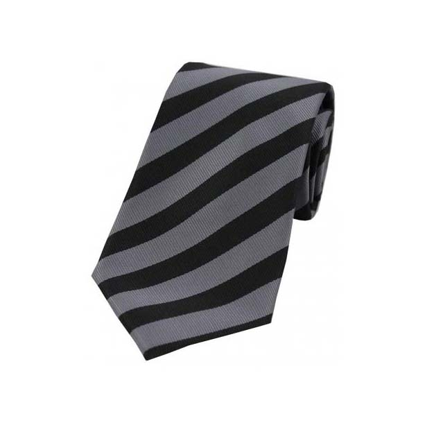 Grey and Black Striped Polyester Tie