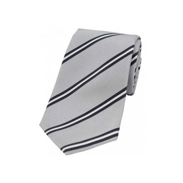 Light Grey Stripes on Silver Polyester Tie