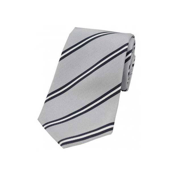 Light Grey Stripes on Silver Polyester Tie