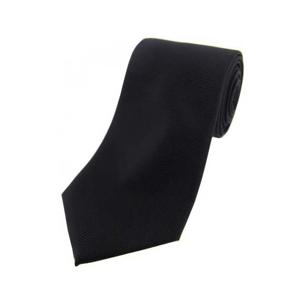 Black Horizontal Ribbed Polyester Tie