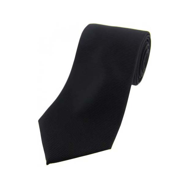 Black Horizontal Ribbed Polyester Tie